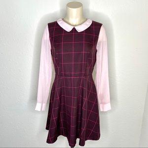 Topshop Pink & Maroon Plaid Fit n Flare Dress
